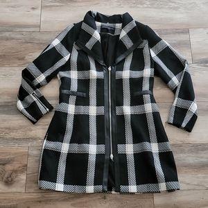 WHBM Plaid Wool Blend Coat Medium